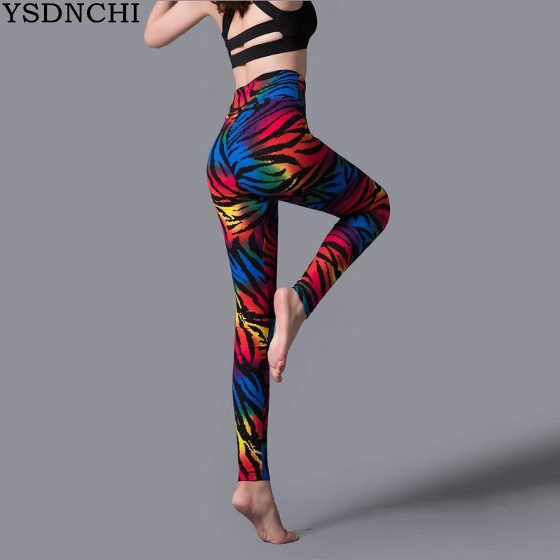 YSDNCHI New Stripe Leopard Print Leggings Women High Waist Legings Work Out Legging Sporting Push Up Trousers Fitness Leggins