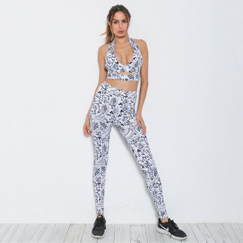 Fashion women yoga suit workout activewear halter scoop neck crop top tight leggings set