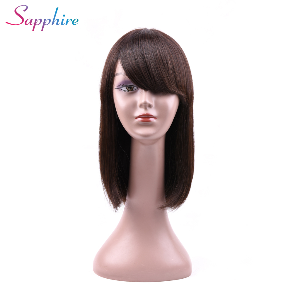 SAPPHIRE Short Human Hair Wigs With Bangs 12 Inch Brazilian Non Remy Hair Bob Wig Natural Human Wigs Machine Made ...