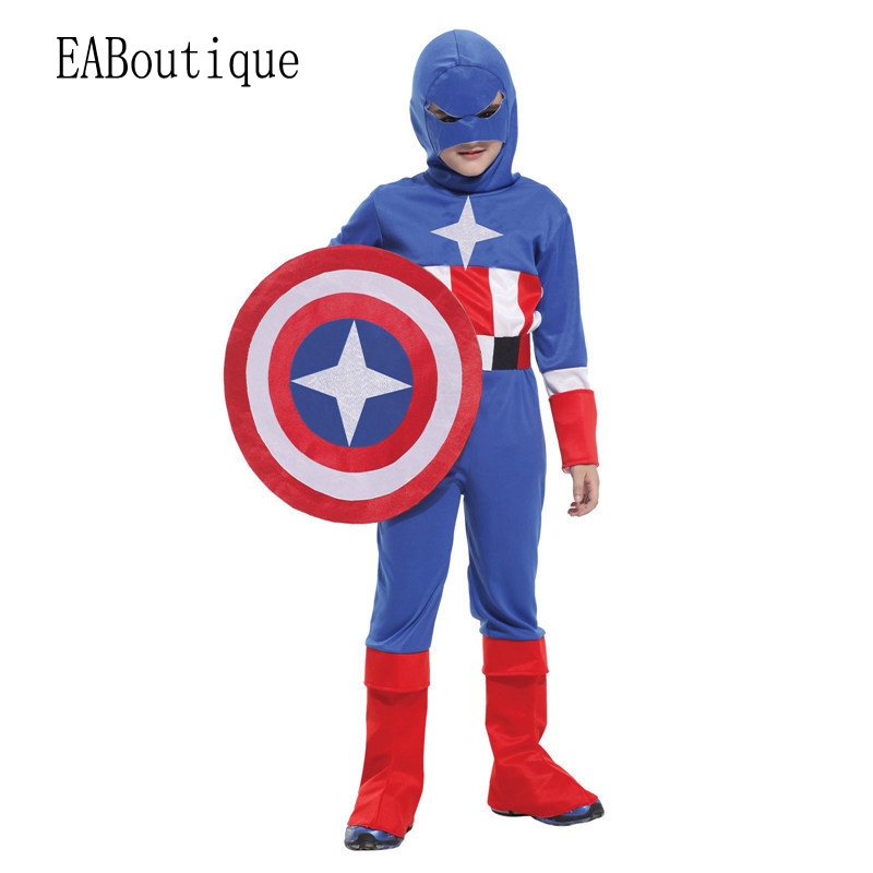 Фото 2016 Hot sale high quanlity Retail New Halloween Captain America halloween costumes for kids boys costumes sets cosplay gift