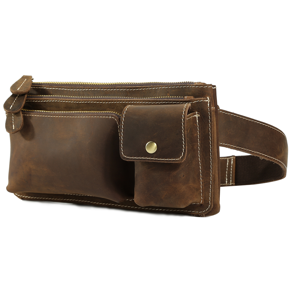 TIDING Small Genuine Leather Fanny Pack Belt Bag for Cool Hip Bum Bag Simple Vintage Style 3162