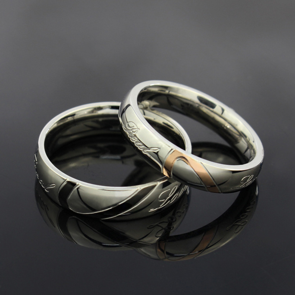 Fashion Valentines Titanium Steel Heart Shaped Puzzle Rings Hold