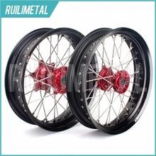 17″ supermoto for HONDA Wheel Set  Hub Rim CR250R CR125R CRF250R 2002 2003 2004 2005 2006 2007 CRF250X CRF450R CRF450X