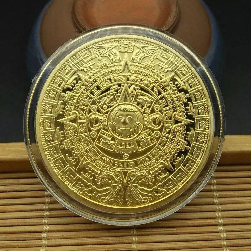 Maya мемориальная монета Пирамиды монеты Американских Монет Мексика в ацтекском стиле золотого и серебряного цвета иностранных Non-монеты ино...