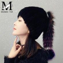 Visón invierno Pieles de animales sombrero mujeres Piel auténtica caliente  Cap tocado moda con Fox Pieles aa19d512e99f