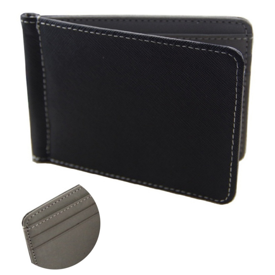 New Men Leather Money Clips Solid Metal ID Credit Card Wallets Purses Money Holder Clip