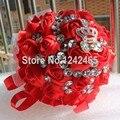 Высокое качество ручной невеста с цветами в руках праздничный красную ленточку букет ювелирные изделия корона горный хрусталь украшение свадебный букет SH25