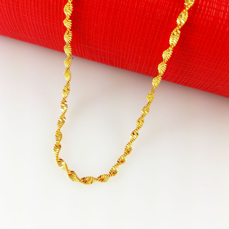 2016 New Fashion,Colorfast 45cm long 2mm wide 24K Gold Plated ...