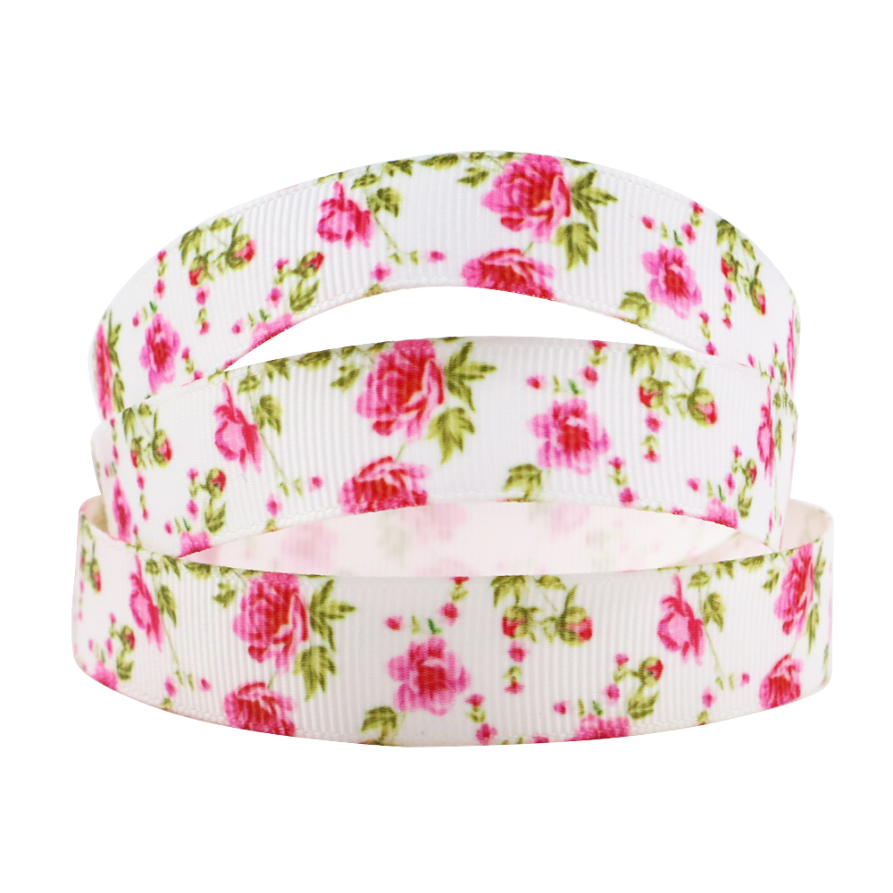 "David Accessories 5/8""16mm Flower Polyester Grosgrain Tape"