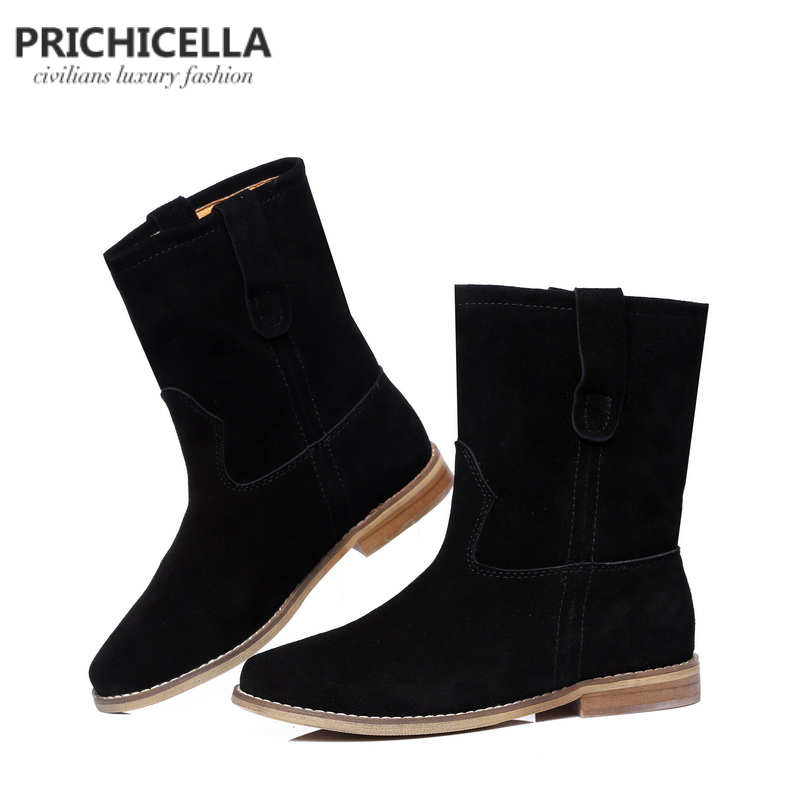 PRICHICELLA 2018 di vendita caldo della ragazza camoscio nero appartamenti a metà polpaccio stivali donne del cuoio genuino stivaletti invernali - 3