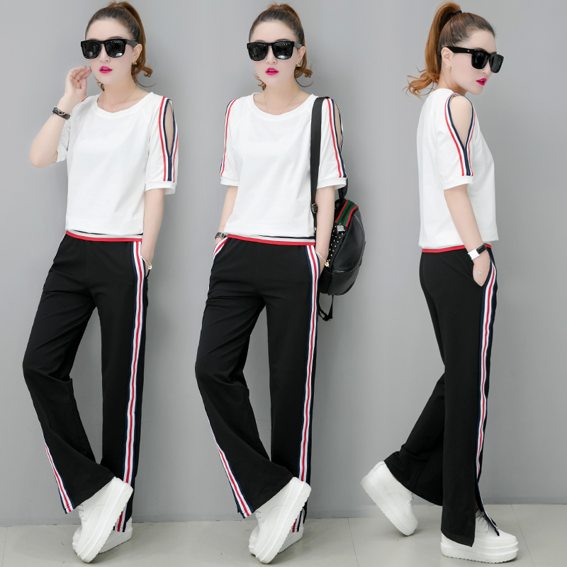 US $19 0 50% OFF|YICIYA white 2019 summer 2 piece set women plus size  outfit striped tracksuit sportswear co ord set Off shoulder top and  pants-in