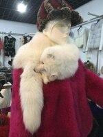 Мода silver fox меховой шарф теплый мех лисы шаль натуральный мех пончо/плащ/пальто/плащ/палантины/шаль длинный хвост шаль большой меховой ворот