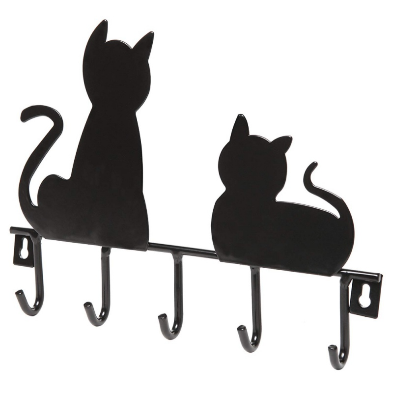Cartoon Black Cat Hanger Holder Metal Key Rack Hangers Home 5 Mounted Decor Decorative Wall Hooks Iron Coat