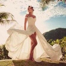 LORIE Plaj düğün elbisesi Kapalı Omuz Yüksek Yan Bölünmüş Sevgiliye Aplikler A Line Basit Boho gelinlik gelinlik 2019