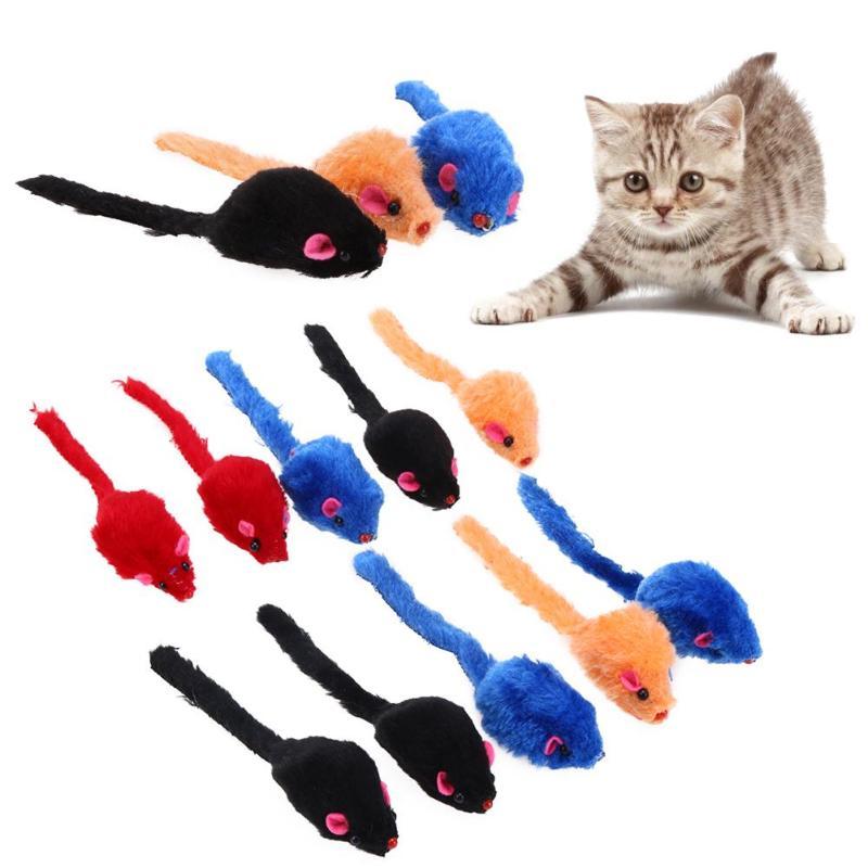 10 unids/lote de Mini juguetes coloridos para gatos, juguetes de peluche con ratones falsos para gatos, gatos, animales divertidos, productos para mascotas gatos, suministros para gatos