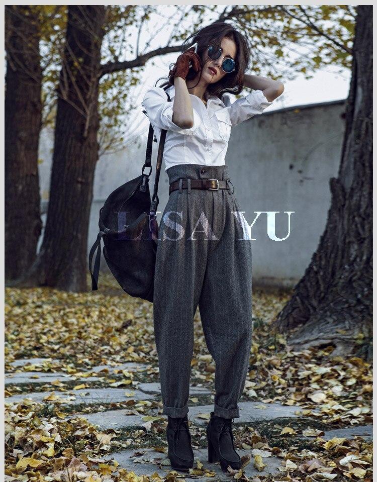 Женские шерстяные брюки в полоску с высокой талией в английском стиле на весну и осень, повседневные обтягивающие брюки до щиколотки - 4