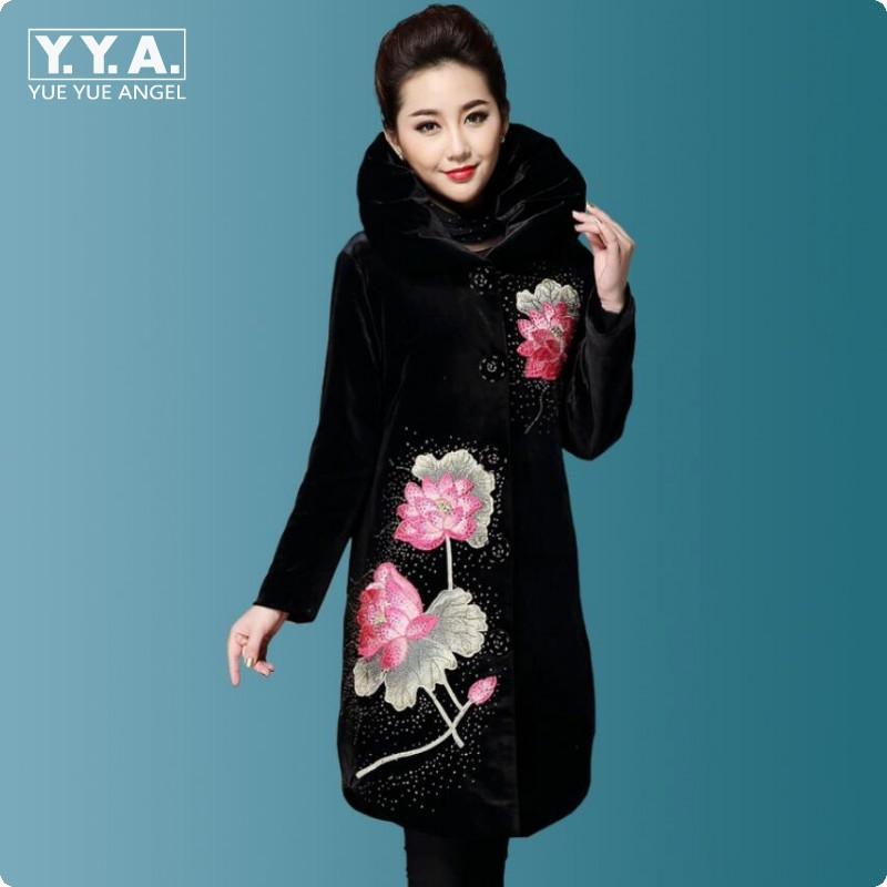 New Top Quality Fashion Womens Lotus Embroidered Floral Winter Long Jacket Coats Warm Outwear Velvet Parkas Female Size 6XL alex evenings new purple plum sheer floral lace womens size 6 shrug jacket $90