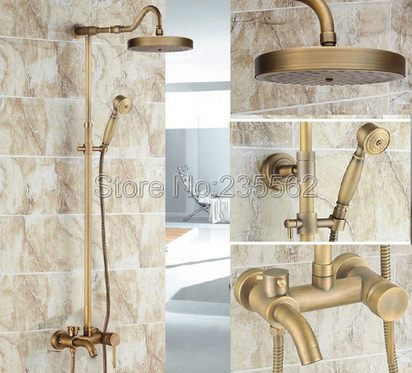 Antique Brass Single Handle Rain Shower Faucet Set Wall Mounted Bathtub Mixer Tap + Rainfall Shower Heads + Hand Spray lrs227