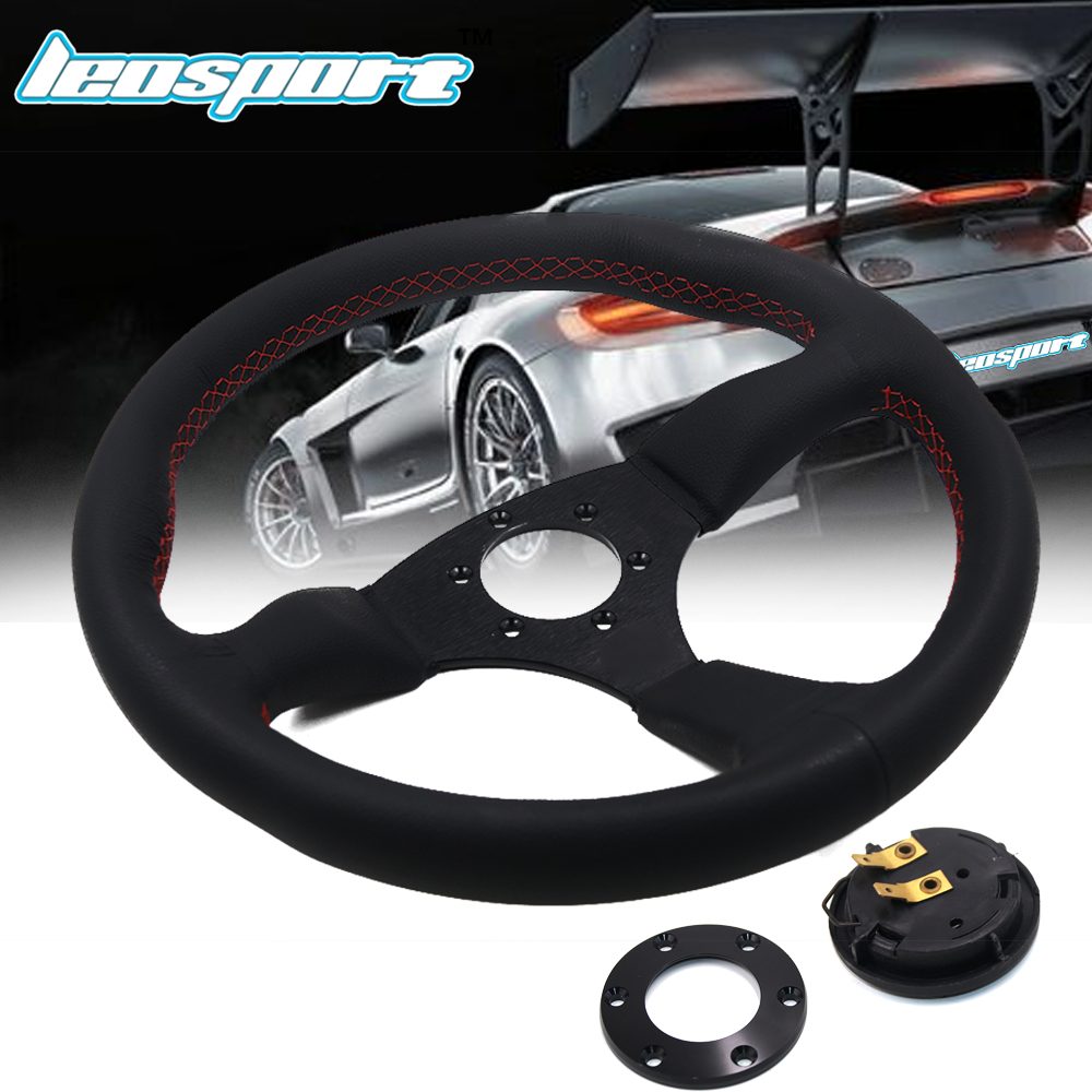 Leosport 14 350mm For Racing Steering Wheel really Leather red line Steering Wheel Game Racing Steering