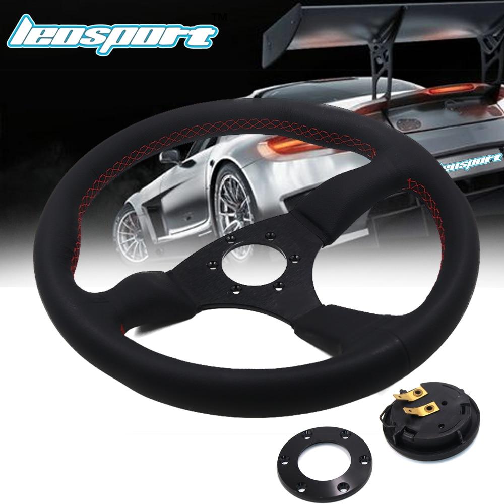 Leosport-14 (350mm) For Racing Steering Wheel really Leather red line Steering Wheel Game Racing Steering Wheel цена