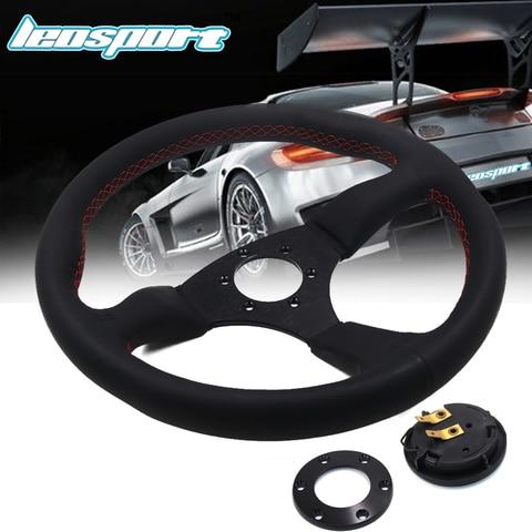 leosport 14 350mm para a corrida volante realmente de couro linha vermelha volante racing game