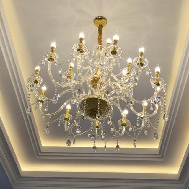 Chandelier Led For Staircase Lighting Brass Chain Modern Crystal Light Dining Room