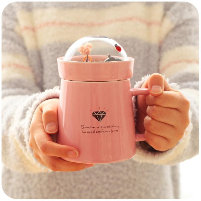 Micro Scenery Cute Coffee Mug 400ml Creative Funny Ceramic Mug With Lid Cup Temperature Cups Directcup Vase Aliexpress