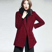 wine crimson girls woolen coat European winter girls's coat double-breasted  lengthy woolen coat feminine top quality AGD0645