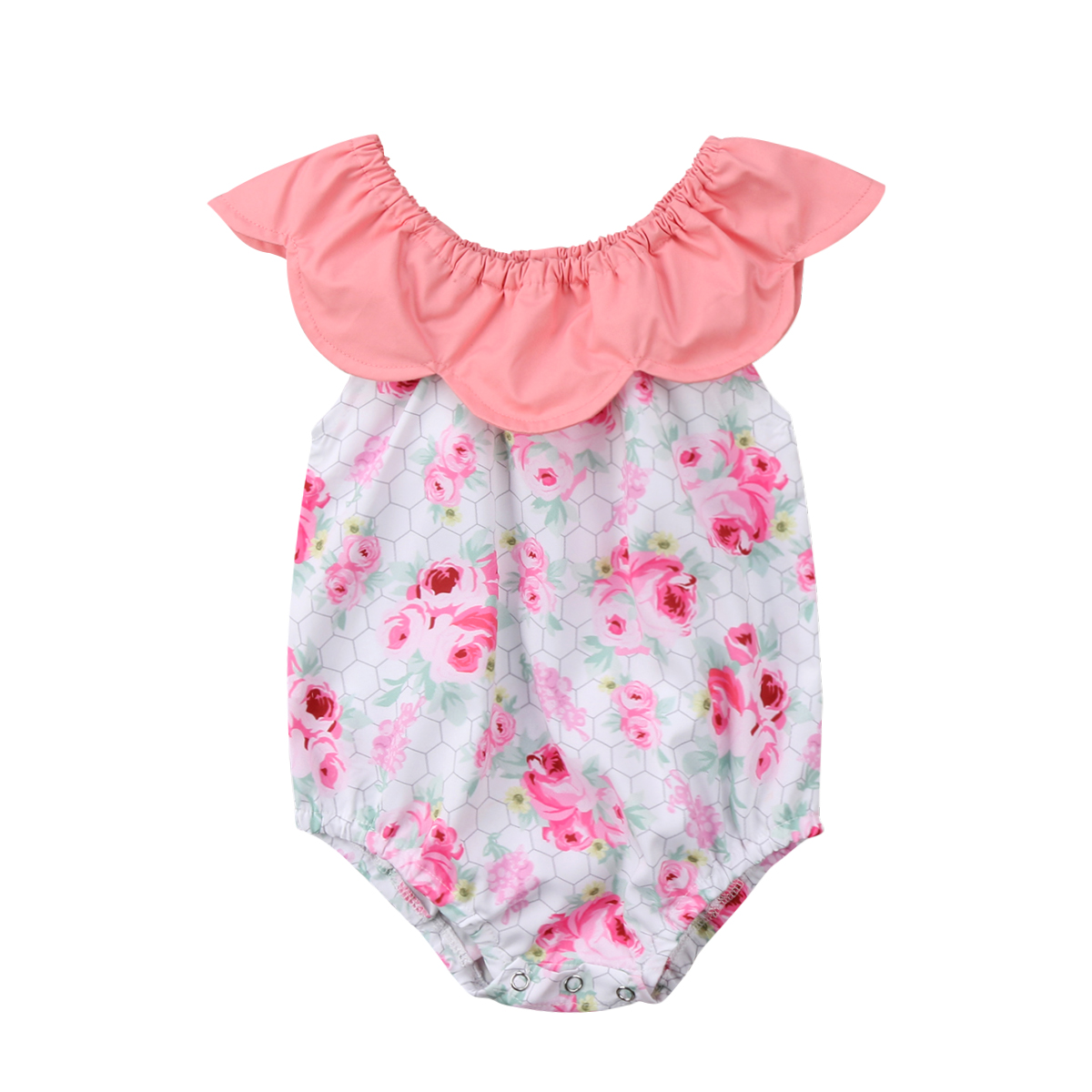 Soft Cotton Newborn Infant Baby Girls Pink Sleeve Floral Romper Jumpsuit Playsuit Outfits Clothes Summer 0-24M