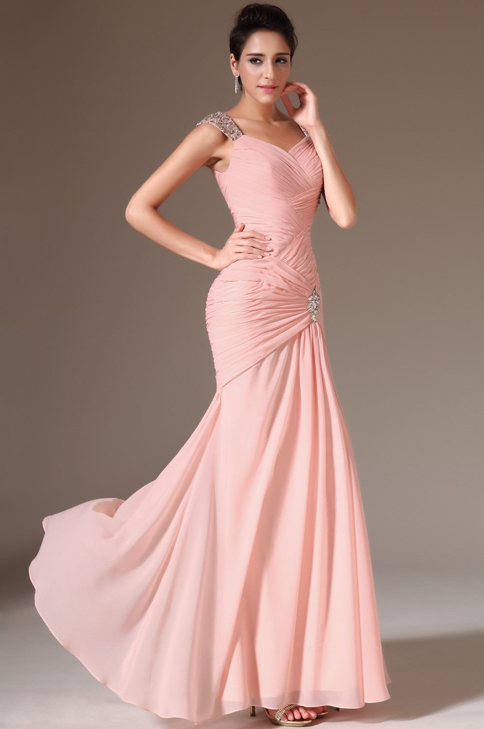 2015 Elegant Light Pink Mermaid Prom Dress Long Chiffon Beading Prom ...