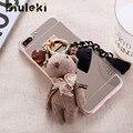 Espelho de metal com corrente do telefone de luxo casos para iphone 6 6 s 6 plus para iphone 7 7 plus 4.7 & 5.5 back cover urso e pônei decorações