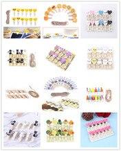 12PCS/10PCS Mini Cartoon Rabbit Owl Cat Guitar Emoji Love Heart Wooden Clothes Photo Paper Peg Pin Clothespin Craft Clips