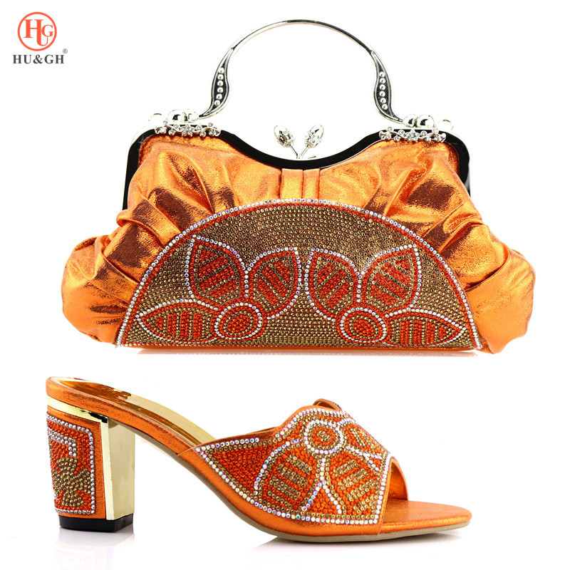 цены New Arrival Italian Shoe And Bag Set African Wedding Shoe And Bag Sets Italy Women Shoe And Bag To Match For party Orange Color