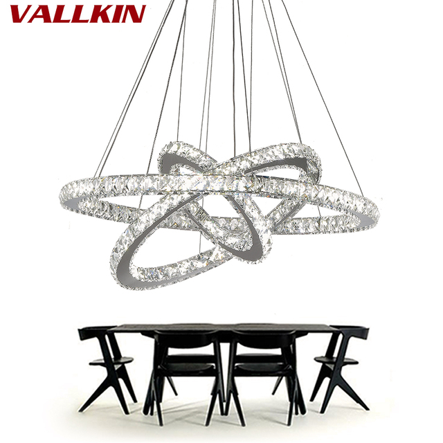 Us 64 47 61 Off Modern Dinning Room Led Ring Pendant Lighting Crystal Hanging Lamp Re Stainless Steel Kitchen Lamps In