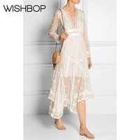 2018SS Newest Genuine 100 Silk Lace Flowers Embroidered V Neck Asymmetrical Dress Fashion Cute Sweet Wishbop