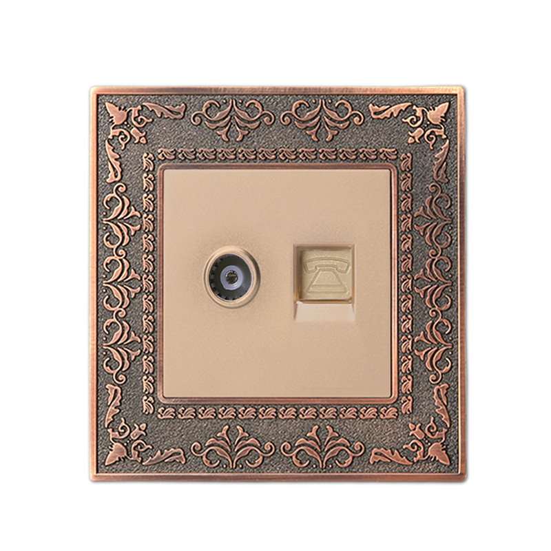 Coswall 4D Embossing Luxury Wall Telephone Outlet With TV Socket Retro Zinc Alloy Panel AC 110~250V