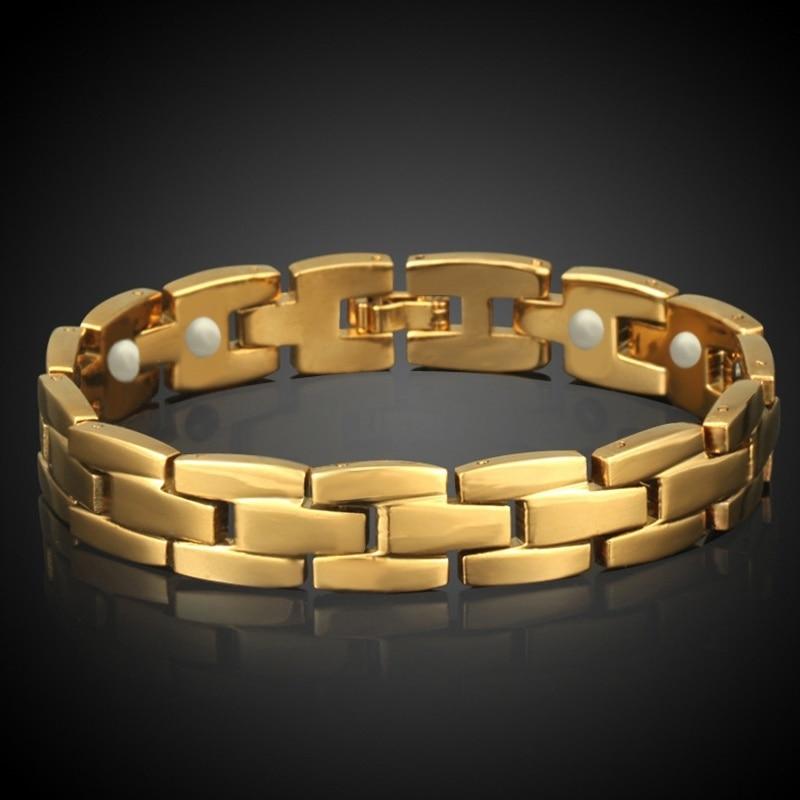 Magnet Bracelet Men Jewelry Wholesale Braslet 2017 Gold Color Chain Link Bracelet Male Gift Rock Style Wristband Pulseiras S508