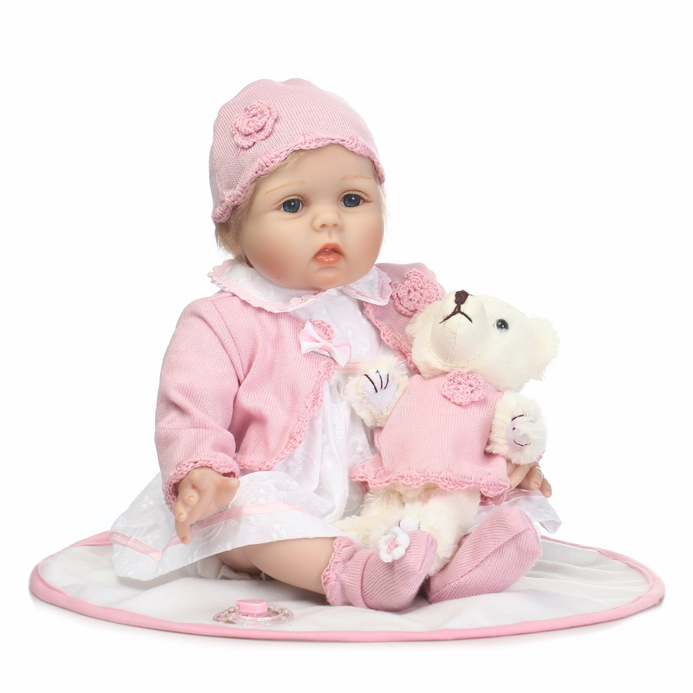 55cm Silicone Reborn Girl Baby Doll Toy Like Real 22inch Newborn Princess Toddler Babies Doll With Bear Kids Birthday Xmas Gifts 55cm silicone reborn baby doll toy lifelike newborn toddler princess babies doll with bear girls bonecas birthday gift present