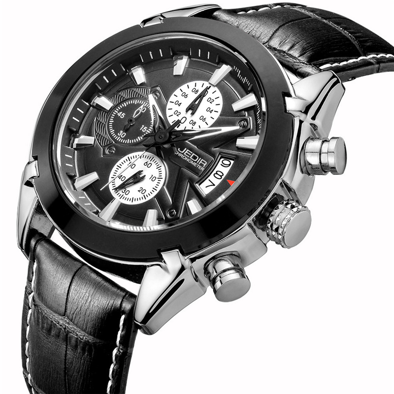 цена на JEDIR Calendar Chronograph Casual Watches Men Sports Genuine Leather Strap Watch Luxury Male Quartz Clock Relogio masculino