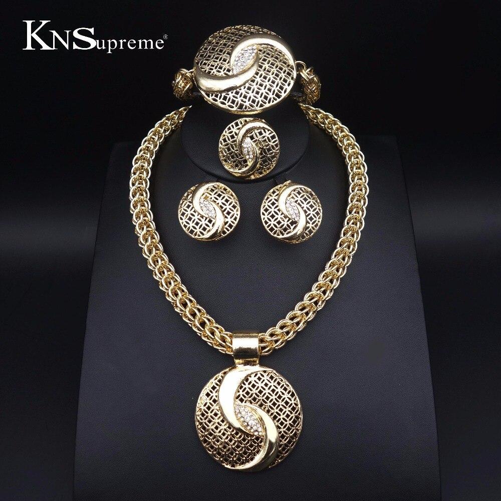 11 Дубай модные африканские Бусины комплект ювелирных изделий золото-Цвет Crystal Jewelry Set Свадебные привлекательные женские Цепочки и ожерелья Серьги комплекты