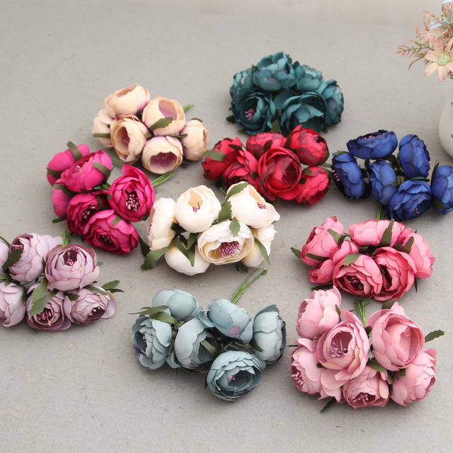 6pcs silk flower artificial flower head artificial flower wedding 6pcs silk flower artificial flower head artificial flower wedding decoration wreaths wedding car decoration artificial tea junglespirit Image collections