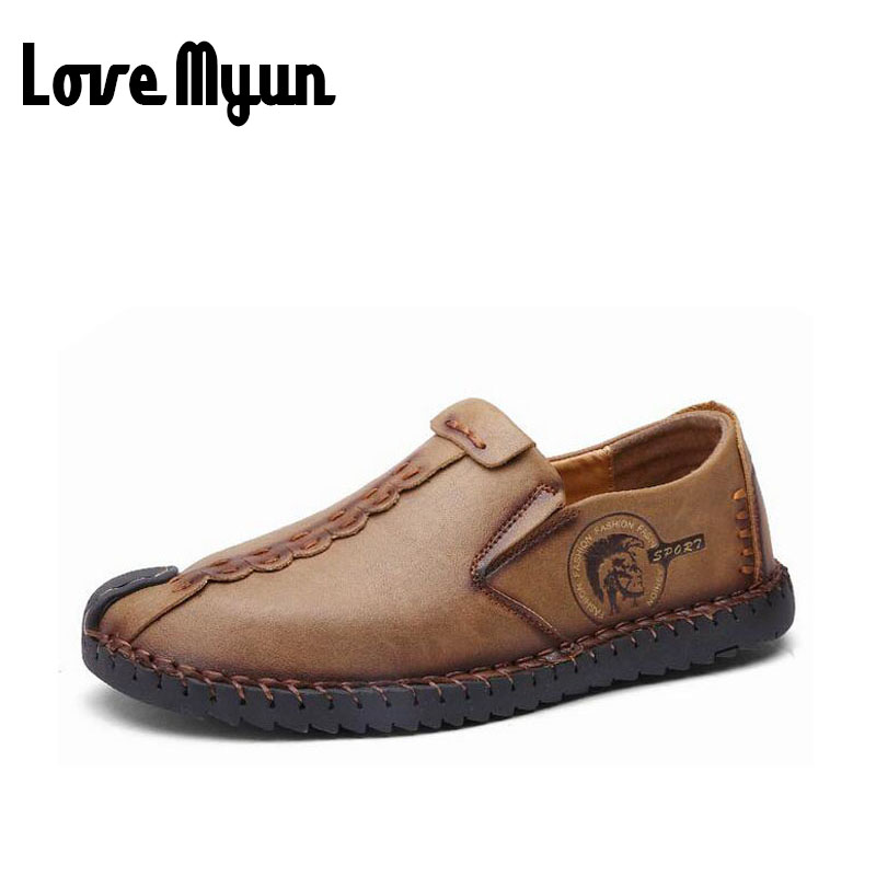 fashion mens genuine leather shoes casual flats Breathable Comfortable Loafers Driving shoes retro slip on walking shoes AE-18 fashion nature leather men casual shoes light breathable flats shoes slip on walking driving loafers zapatos hombre