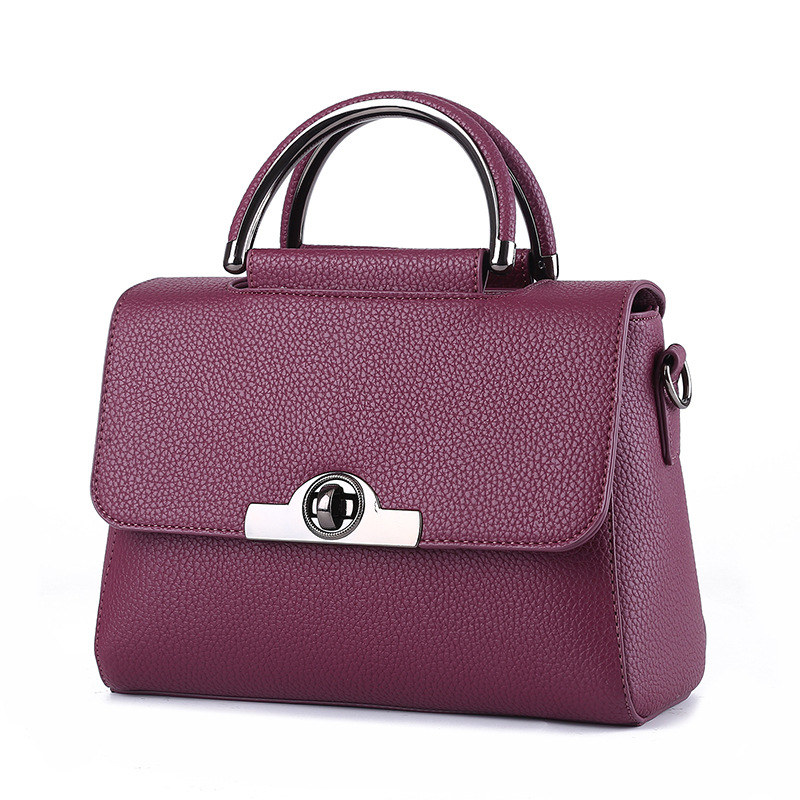 Dark Purple PU Women Handbag Fashion Cusual Shoulder Bag Twist Turn Lock Crossbody Messenger цена
