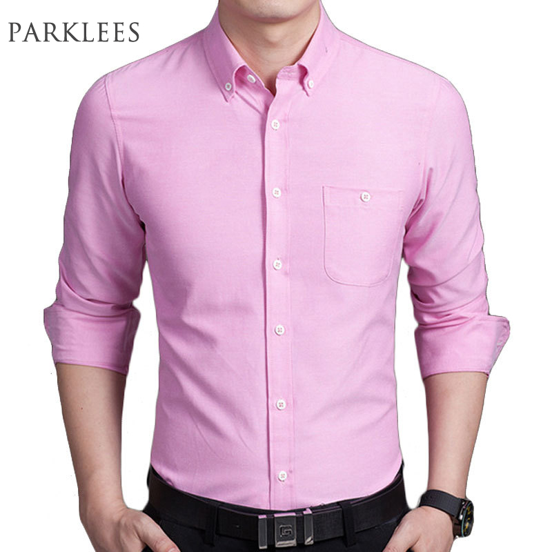 New pink men shirt long sleeve chemise homme 2017 fashion for Pink oxford shirt men