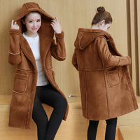 Imitation lambskin jacket women fashion version of the long hooded deerskin coats Winter casual plus velvet Woolen wool coat