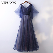 VENSANAC 2018 V Neck Sequined Sash Tulle Long Evening Dresses Elegant Party A Line Lace Pleat Backless Prom Gowns