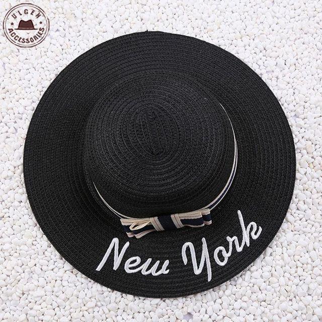 91808e9aaf3 Hot Sale Women Summer Straw Sun Hat Wide Brim Pork Pie Hats With New York  Letter