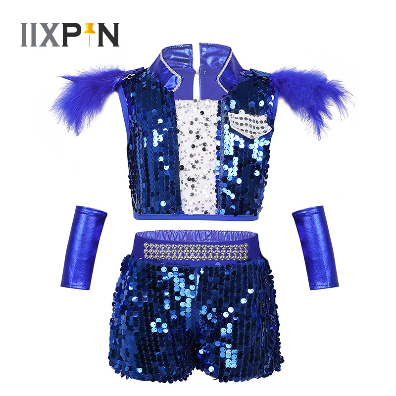 IIXPIN Jazz Dance Costume For Boys Girls Sequined Ballroom Hip-hop Jazz Dancewear Outfit Shiny Sequins Mordern Dance Clothings