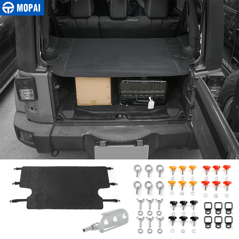 MOPAI Car Interior Trunk Cover Luggage Carrier Curtain With Screw Nut Pull Buckle Tool Decoration For Jeep Wrangler 2007 Up mopai multifunctional cloth car interior decoration seat armrests pads cover for jeep wrangler 2007 2016 car styling