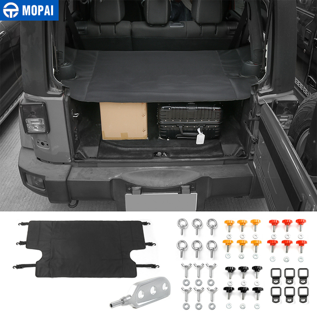 MOPAI Car Interior Trunk Cover Luggage Carrier Curtain With Screw Nut Pull Buckle Tool Decoration for Jeep Wrangler JK 2007 Up